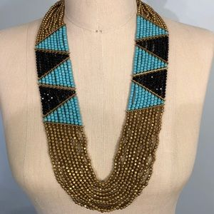 PANACEA NWT tourquoise, bead, gold tone necklace